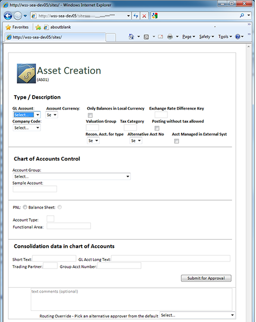Asset accounting data entry